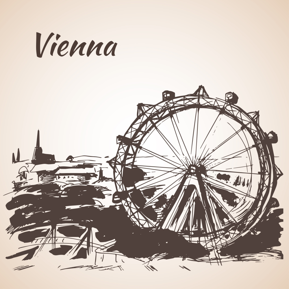 Hand drawn Vienna amusement park