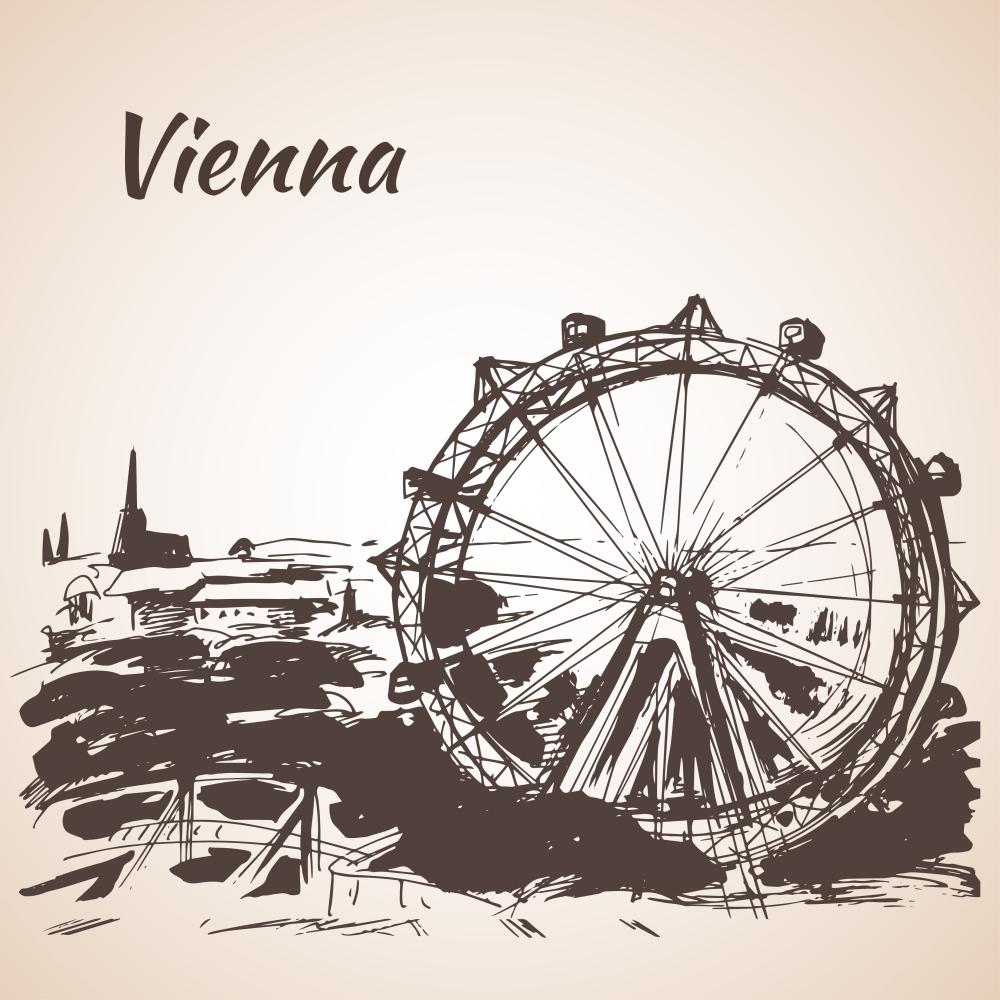 Hand drawn Vienna amusement park